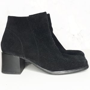 White Mountain Suede Square Heel Toe Ankle Bootie